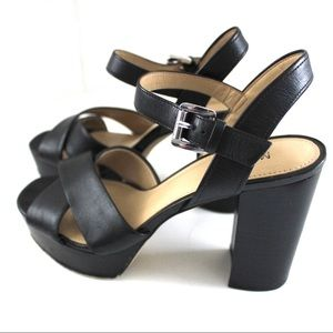 MICHAEL Michael Kors Shoes - Michael Kors Black Leather Chunky Sandal Heels